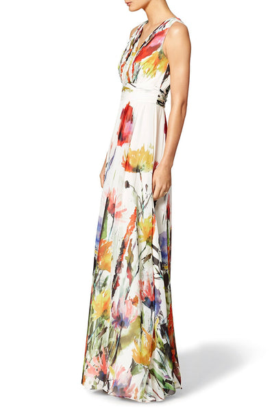 Sexy Deep V Neck Floral Printed High Waist Evening Dress