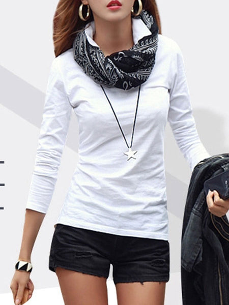 Autumn Spring  Cotton  Women  Turn Down Collar  Plain Long Sleeve T-Shirts