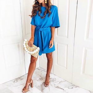 Elegant Blue Bandage Casual Dress