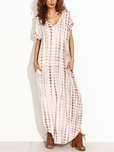 Load image into Gallery viewer, Loose V Neck Irregular Floral Printed Maxi Dress