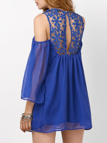 Round Neck Patchwork See-Through Plain Shift Dress