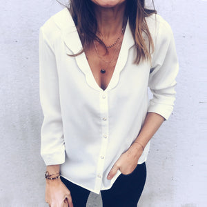 Sexy Deep V Collar Pure Color Slim Shirt