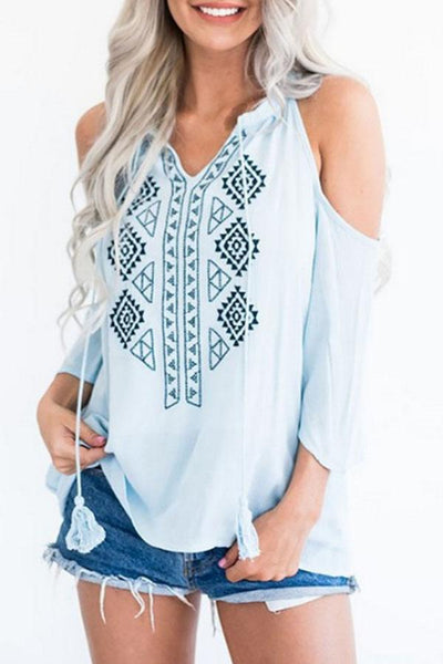 Open Shoulder  Printed  Blouses