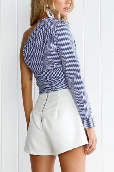 One Shoulder Striped Blouses