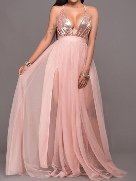 Spaghetti Strap High Slit Patchwork See-Through Plain Evening Dress