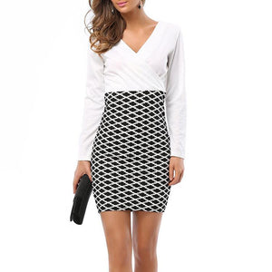 Sexy V Collar Stitching Package Hip Work Dress