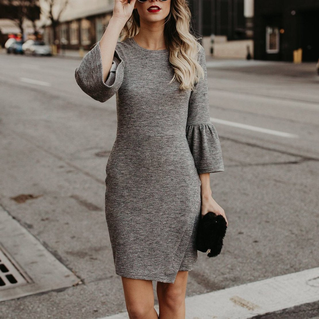 Elegant Pure Color Flare Sleeve Package Hip Work Dress