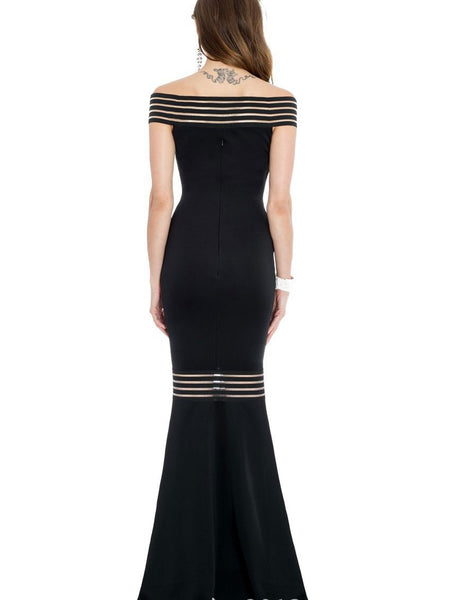 Sexy Slim Fit Split Joint Striped Maxi Dress