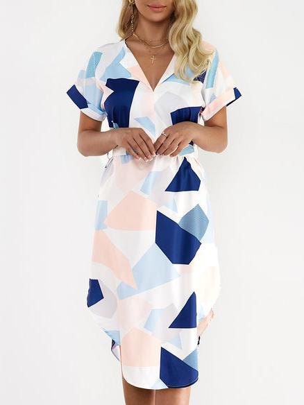 Henley Collar Geometric Bodycon Dress