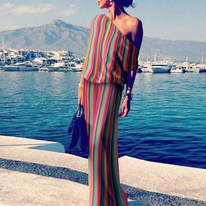 One Shoulder Stripes Plain Vacation Dresses