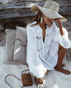 Shirt Type Trumpet Sleeve Beach Blouse Sun Shift Dresses