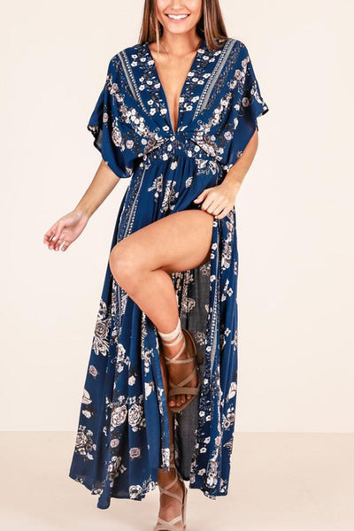 Sexy V Neck Floral Print Vacation Maxi Dress