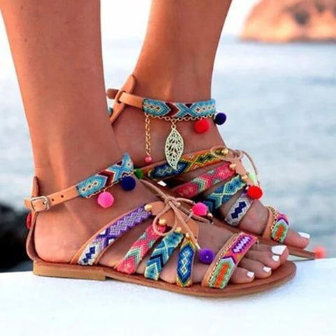 Bohemian Multicolor Buckle Sandals