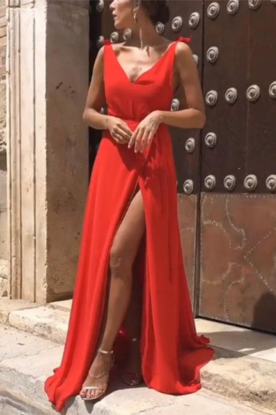 Red Elegant Sexy Vacation Maxi Dress