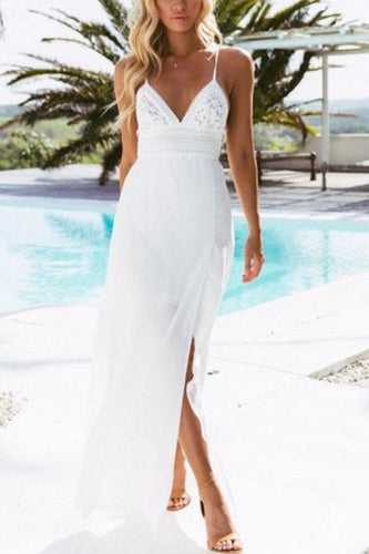 Spaghetti Strap  Backless High Slit  Plain  Sleeveless Maxi Dresses