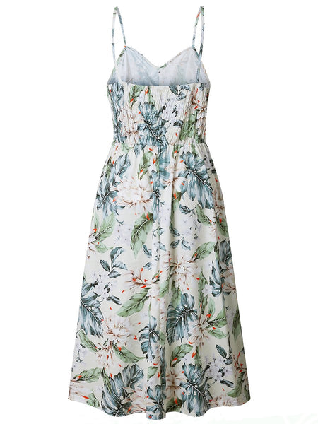 Spaghetti Strap Leaf Floral Printed Patch Pocket Skater Dress
