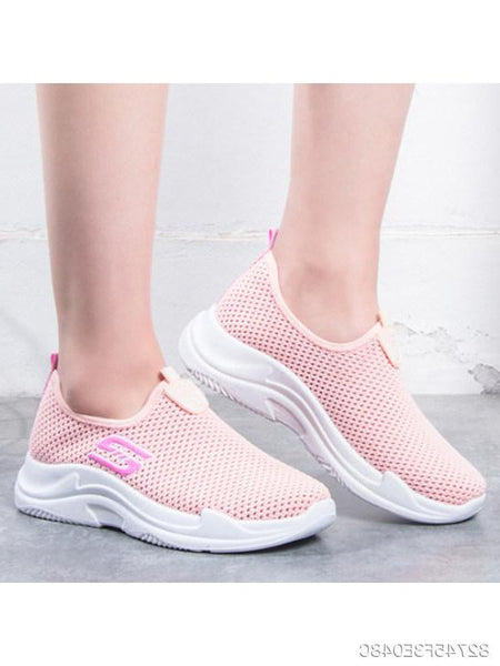 Plain Low Heeled Round Toe Casual Sport Sneakers