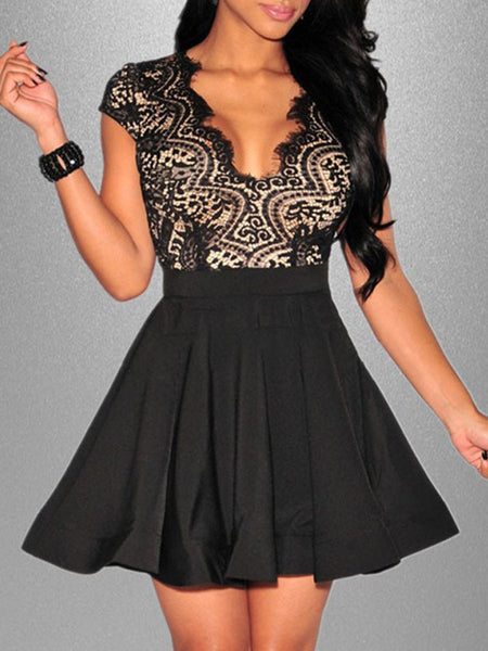Sexy V-Neck Decorative Lace Back Hole Mini Skater Dress