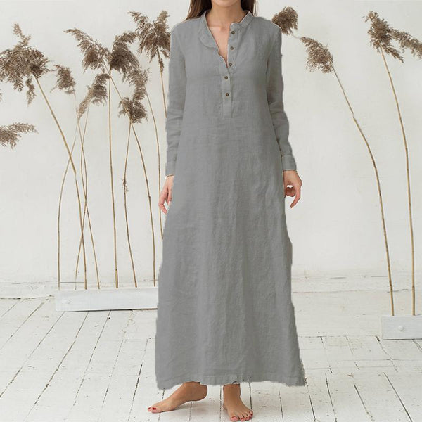 Women Kaftan Long Sleeve Split Plain Cotton Maxi Dress