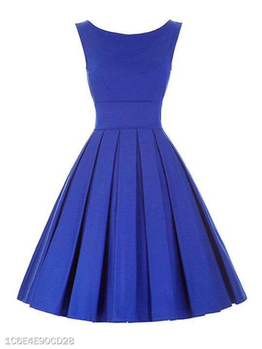Round Neck Plain Skater Dress