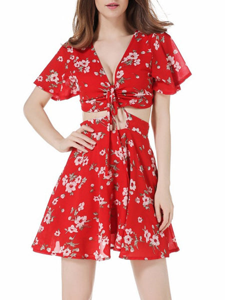 Sexy Deep V-Neck Cutout Floral Printed Skater Dress
