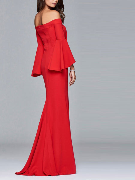Sexy Off Shoulder Slit Evening Dress