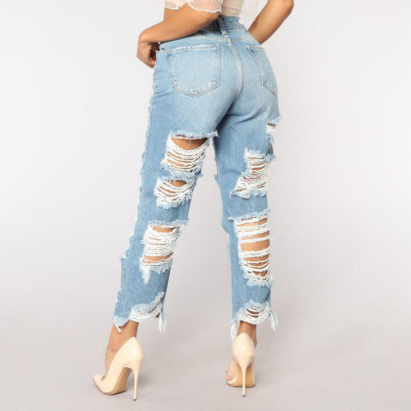 Wild Sexy Exaggerated Big Hole Scratched Boyfriend Jeans Pants