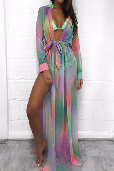Deep V Neck  High Slit  Printed  Long Sleeve Maxi Dresses