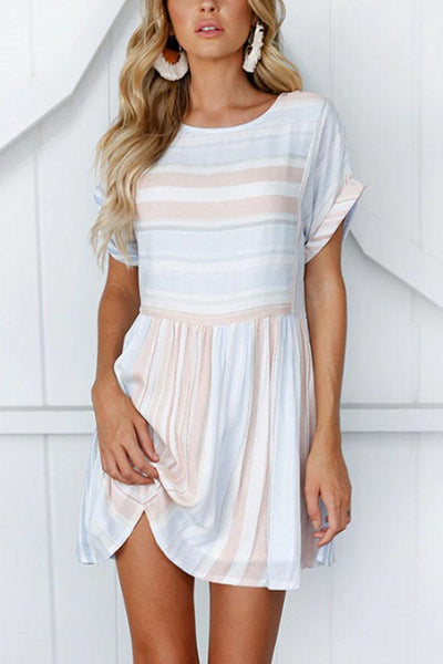 Round Neck Striped Short Sleeve Skater Dresses