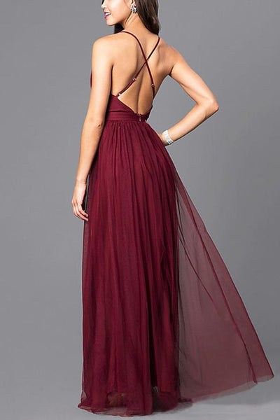 Elegant Sexy Backless Chiffon Wedding Maxi Dress