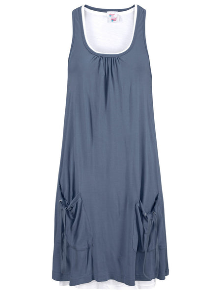 Round Neck Drawstring Plain Shift Dress