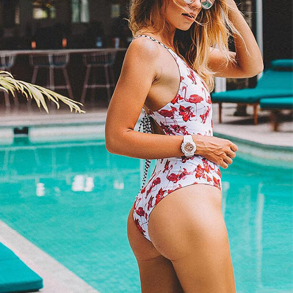 Flamingo Printed Cross Bandage Swimsuit