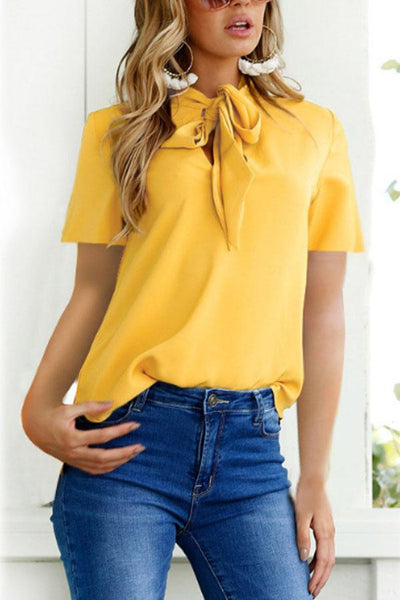 High Neck Bowknot Plain Blouses