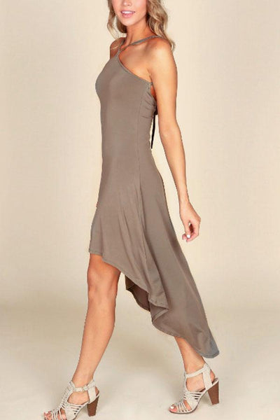 Halter Asymmetric Hem Backless Plain Sleeveless Evening Dresses