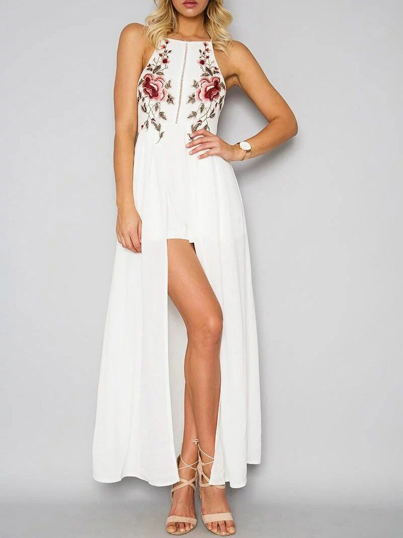 Sexy Backless Cross Strap Slit Embroidery Maxi Dress