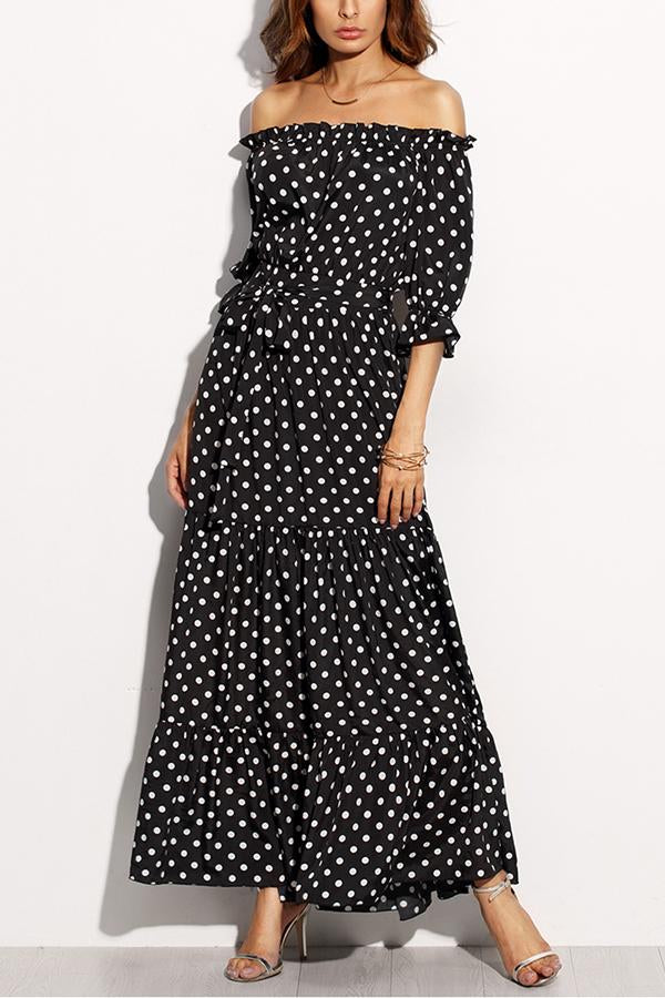 Sexy Off Shoulder Half Sleeves Maxi Dress