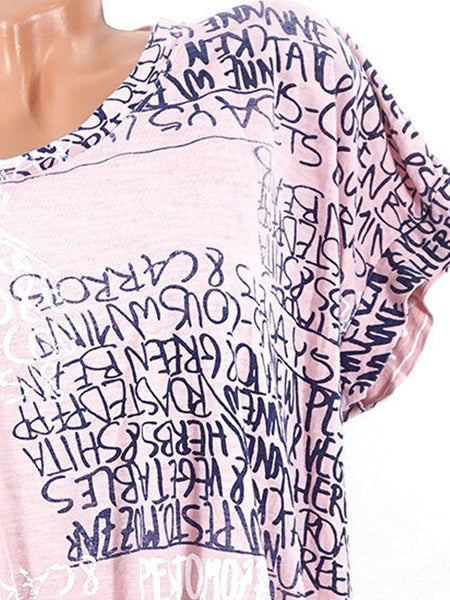 Summer  Cotton  Women  Round Neck  Letters Short Sleeve T-Shirts
