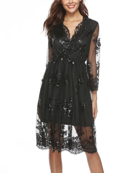 Sexy V Collar Lace Sequins Skater Dress