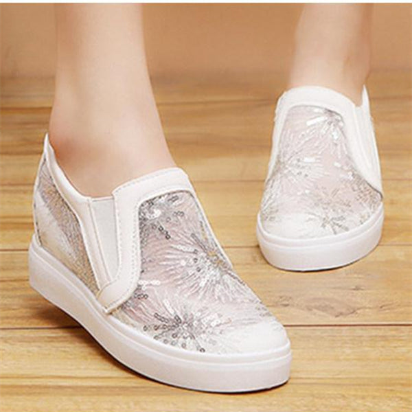 Lace Invisible High Heeled Lace Round Toe Casual Sport Sneakers
