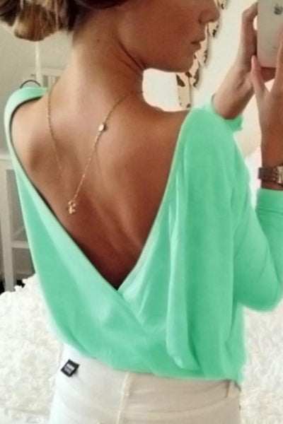 Round Neck Back Hole Plain Blouses