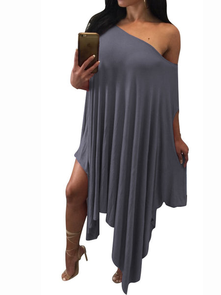 One Shoulder Asymmetric Hem Plain Shift Dress