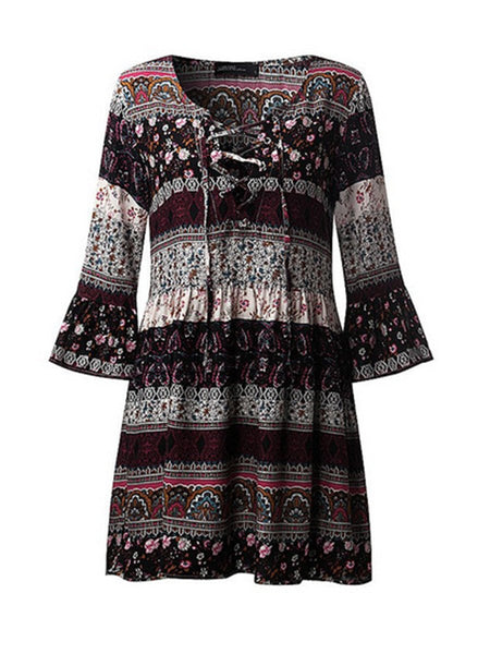 Tie Collar Print Bell Sleeve Shift Dress