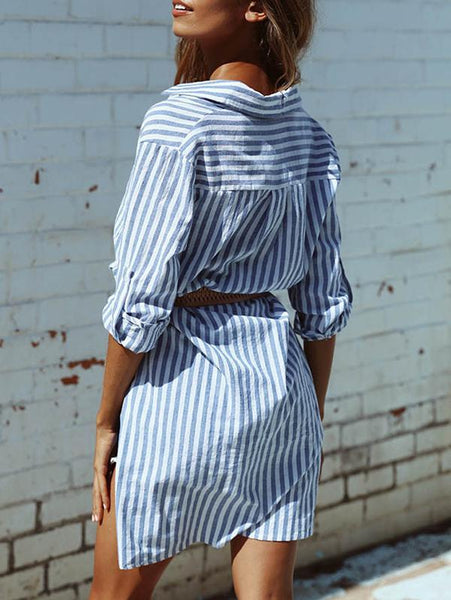 Blue And White Striped Irregular Blouses