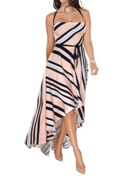 Spaghetti Strap  Asymmetric Hem Lace-Up  Printed Maxi Dress