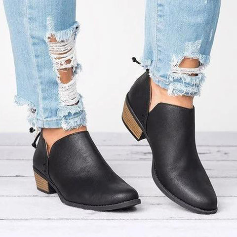 Women Round Toe Casual Daily Chunky Ankle Boots