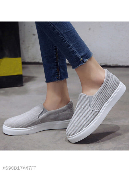 Plain Flat Cotton Round Toe Casual Sport Sneakers