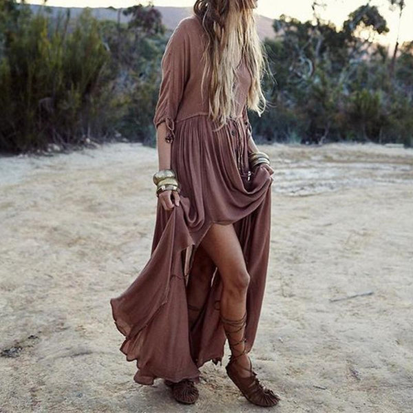 Elegant V-Neck Plain Maxi Dresses