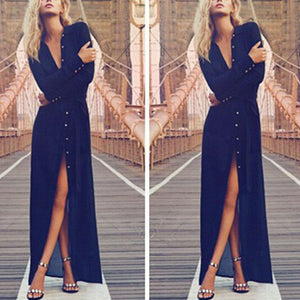 Sexy Deep V-Neck Slit Hem Long Sleeve Maxi  Dress