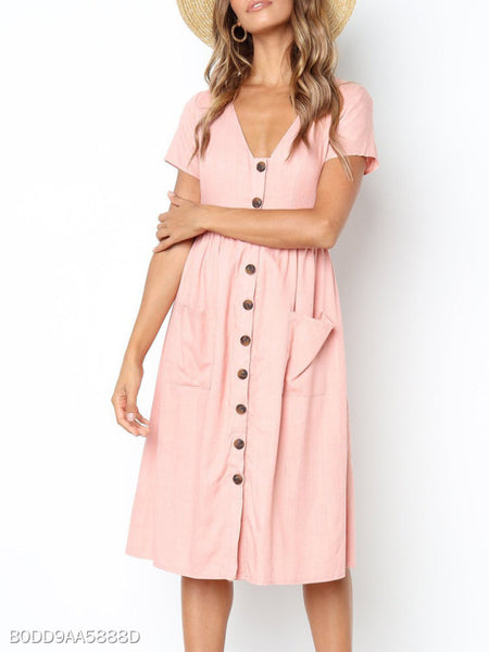 V Neck Patch Pocket Single Breasted Plain Skater Dress
