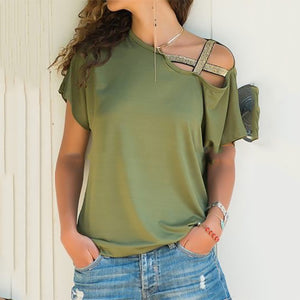 Casual Pure Color Irregular Short Sleeve Shirt
